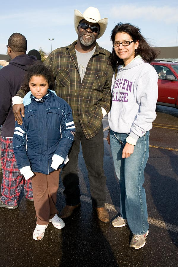 Kacia, Eric and Maria, waiting for tickets to President Obama's Town Hall meeting, Concord High School, Elkhart IN