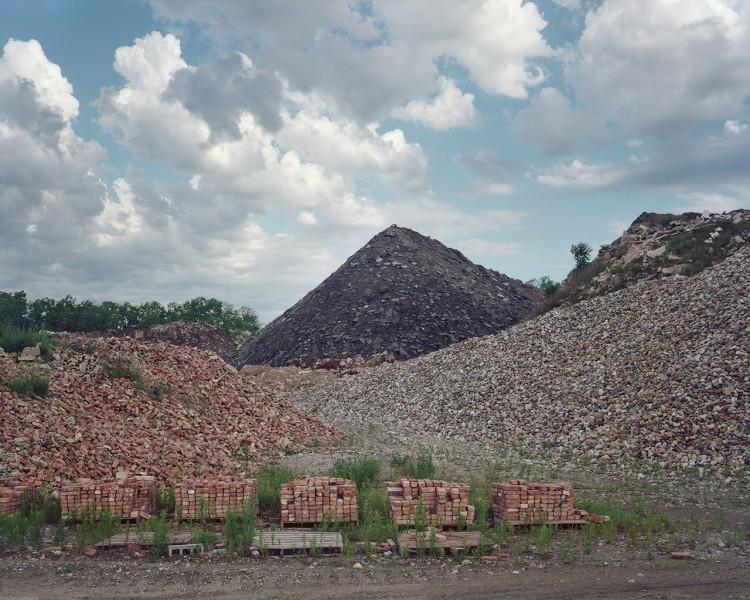 Road materials at a recycling facility